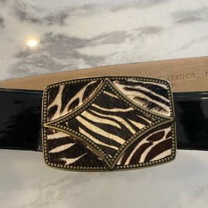 Oscar de la Renta fuzzy zebra and brass belt M